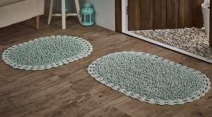 Набор ковриков для ванной Кружевной с люрексом Dual (ручная работа)