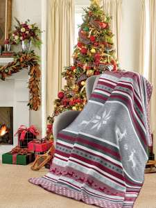 Плед KARNA FARM новогодний с оленями хлопок
