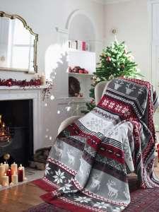 Плед KARNA NORVEC новогодний с оленями хлопок