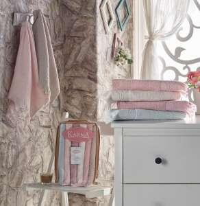 Комплект махровых полотенец Karna с бахрамой DIVA 40х60 1/6 2920