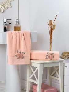 Комплект махровых полотенец KARNA с вышивкой FLORYA 50X90-70Х140 1/1