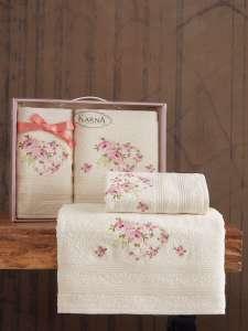 Комплект махровых полотенец KARNA MALDEN с вышивкой 50x90-70х140 1/1