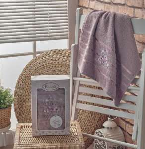 Полотенце махровое в коробке KARNA с вышивкой PAPILON 50X90