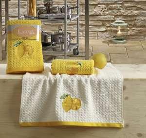Салфетки вафельные KARNA c вышивкой LEMON желтый 45x65 1/1