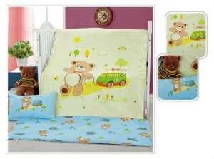 Ясельное постельное бельё сатин-люкс «Мишка с паровозиком»