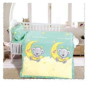 Ясельное постельное бельё сатин-люкс «Мишка на луне»