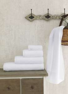 Полотенце махровое белое, гостиничное FORS 400 гр 50х70 см 1/1