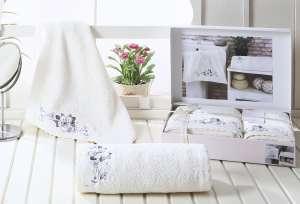 Комплект махровых полотенец c гипюром KARNA SUENA 50x90-70х140 1/2