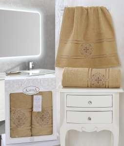 Комплект махровых полотенец KARNA в коробке SEHER 50x90-70х140 см 1/2
