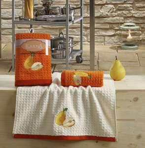 Салфетки вафельные KARNA c вышивкой LEMON оранжевый  45x65 1/1