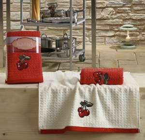 Салфетки вафельные KARNA c вышивкой «LEMON» Красный  45x65 1/1